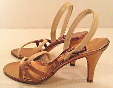 Vtg Anne Klein Peep Toe Leather Strappy Sandal Shoes Ivory Gold Women 6.5 Narrow