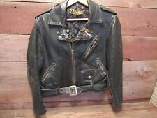 1970-80s Vintage Men Schott Perfecto Leather Jacket With Harley Davison Pins!
