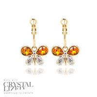 BUTTERFLIES HOOP Swarovski Elements Crystal 18-KRGP Gold Plated Stud Earrings