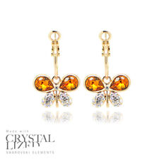 BUTTERFLIES HOOP Swarovski Elements Crystal 18-KRGP Gold Plated Stud Earrings