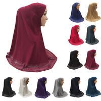 One Piece Amira Muslim Women Prayer Long Scarf Hijab Islam Large Overhead Shawls