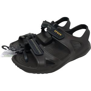 NWT Crocs Swiftwater River Espresso Sandals Sz 8 Backstrap 2 Straps