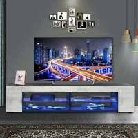 High Gloss Modern TV Stand Unit Cabinet w/ LED Light+4 Shelves Console Furniture