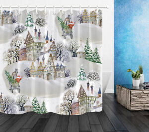 """Christmas Santa Claus Snowy Woods Cottage Waterproof Fabric Shower Curtain 72"""""""