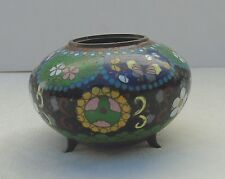 Antique Japanese Cloisonne Enamel Jar Box Meiji Period Goldstone No Lid Butterfl