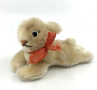 Steiff Lying Rabbit Mohair Plush 6cm 2.5in 1960s no ID Vintage Bunny