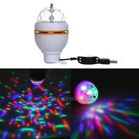 3W RGB USB LED Crystal Ball Rotating Stage Light Bulbs Disco Party Bulb Lamp New