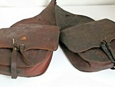 Antique Western Hand Tooled Leather Saddle Bags