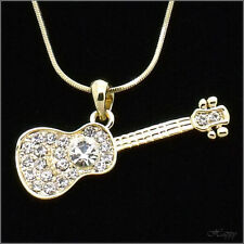 Musical Instruments Guitar Pendant Guitar Necklace Charm Crystal Clear Gold Tone