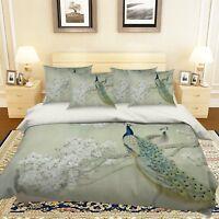 3D Peacock Flower 246 Bed Pillowcases Quilt Duvet Cover Set Single Queen King AU