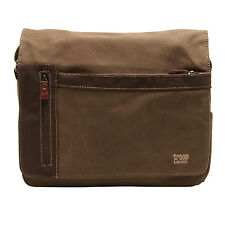 Troop London - Brown Classic Messenger Bag in Canvas-Leather
