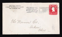 1906 LOS ANGELES STATION - BARRY MACHINE CANCEL ON SCOTT #U385 POSTAL STATIONARY