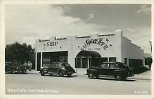 40's Autos Parked Outside the Ship Cafe, Port Isabel TX RPPC