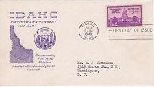 POSTAL HISTORY -1940 FDC IDAHO FIFTIETH ANNIVERSARY ISSUE GRIMSLAND CACHET BOISE