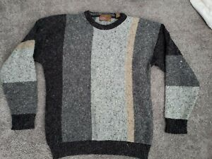 vintage AUTHENTIC ISSUE 90 gray color block Large sweater Wool/Nylon