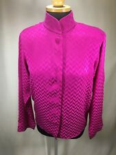 Vintage Anne Klein II Mandarin Collar Blouse W/covered & Hidden Buttons sz Large