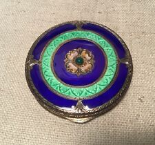 Antique 800 Sterling Silver Italian Green & Blue Enamel Compact