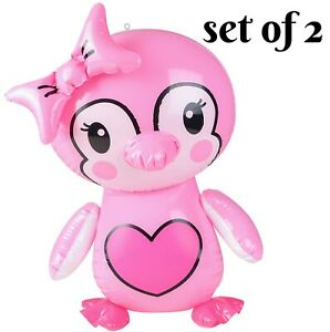 """(Set Of 2) 24"""" Pink Penguin bow Inflatable-Inflate Blow Up Toy Party Decoration"""