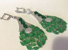 BEYOND LUXURY 100% NATURAL COLOMBIAN EMERALD EARRINGS ROYAL ELEGANCE