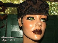 Antique Vintage 1940's Brown Felt Beaded Sz M Good Con Ladies Hat