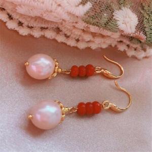 Elegant Natural red agate Pearl Earrings Ping buckle 18KGP Classic Gift Diy
