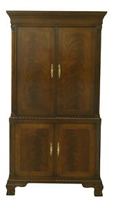 F51048EC: HERITAGE HEIRLOOM Chippendale Inlaid Mahogany TV Bar Cabinet Armoire