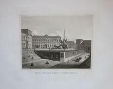 1869 NUOVA STRADA E PIAZZA DI MONTE CAVALLO ROMA acquatinta originale Aurelj