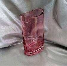"Nambé Lead Crystal Baby Pocket Vase 7"" Pink Glass Oval Vase Etched to Clear"