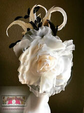 Bridal Black Fascinator Race Day Hat Cream Ivory Silk Rose Feathers ROYAL ASCOT