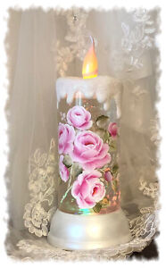 Pink Rose painting flickering candle snow globe shabby Cottage Chic HP Roses