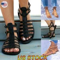 US Women Strappy Crisscross Gladiator Low Flat Heel Summer Sandals Buckle Shoes