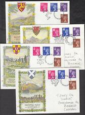GB 1971 QEII ☀ Regional issue WALES, SCOTLAND, ISLE of MAN, N.IRELAND ☀ 4 FDC-s