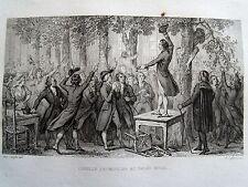 Bi18 Gravure 1834 révolution française Camille Desmoulins au palais royal