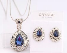 Vintage Teardrop Necklace Earrings SET SAPPHIRE BLUE Crystal Free Gift Pouch