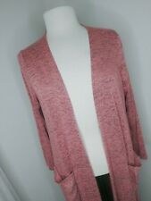 Lularoe Long Duster Cardigan Sarah Sweater Pink And Grey Med