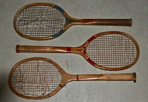 LOT of 3 Antique Vintage 1920s Wood Tennis Rackets Wright & Ditson