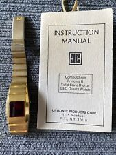 Vintage Ladies CompuChron Princess II LED Quartz Watch W/manual *RUNNING* #109