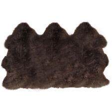grande taille extra large véritable marron foncé Triple Tapis peau de mouton