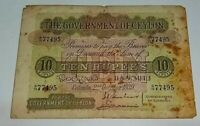 The Government Of Ceylon 1939 Ten Rupees Bank Note