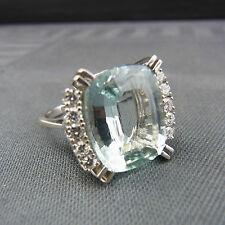 hermosa Anillo Oro Blanco 585 brillantes Aguamarina juwelenring