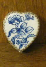 Oriental Trinket Box #1827G Blue Flower  porcelain inlay NEW from Retail Store