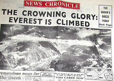 1953 Newspaper Mount Everest Climbed Old Vintage Mountain Base Camp Hiking Nepal