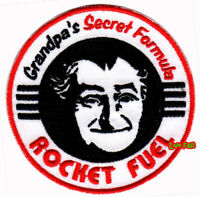 GRANDPA'S ROCKET FUEL IRON ON PATCH vintage hot rod rat rod car racing fink