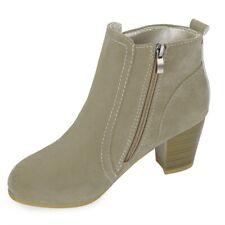 Stylish Side Zipper Scrub Boots Women High Heel Shoes  Tan Apricot  Size 7/7.5