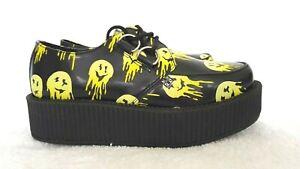 T.U.K. Designer Black/Yellow Emoji Face Platform Oxford Shoes size 5 NWOT