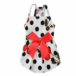 Summer Pet Puppy Dress Flowers Printing bowknot Pretty Dress For Small Dog Cat #