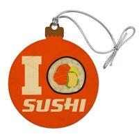 I Love Sushi Roll Heart Wood Christmas Tree Holiday Ornament