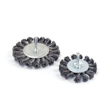 """3"""" 4"""" Twisted knotted Steel Wire Wheel Brush Metal Rotary Tool 1/4"""" Shank 2Pcs"""