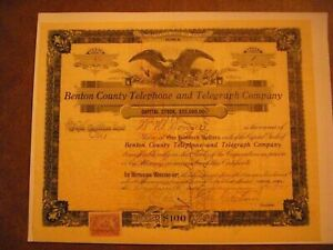 Benton County Telephone and Telegraph Company Issued Cert No. 13 for One Share,
