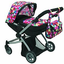 Babyboo Deluxe Twin Doll Pram/Stroller Gumball & Black With Free Carriage Bag Ne